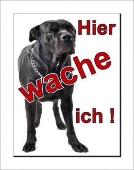 Black Italian Mastiff Schild - HIER WACHE ICH!