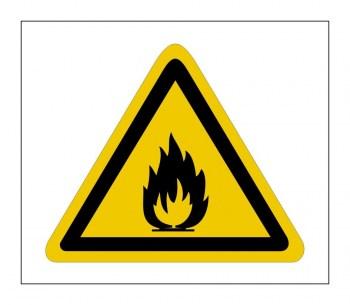 Gefahrenhinweis Schild, Warnaufkleber feuergefährliche Stoffe!