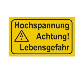Gefahrenhinweis Schild, Warnaufkleber - Vorsicht Hochspannung!