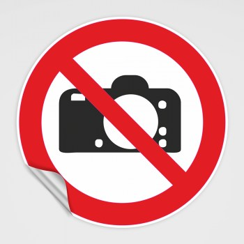 Verboten! Fotografieren verboten! Schild, Fotoverbotsschild!