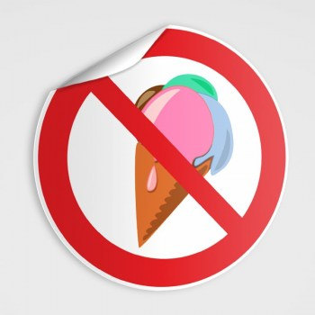 Verboten! Eis essen verboten! Schild, Essen verboten! Aufkleber