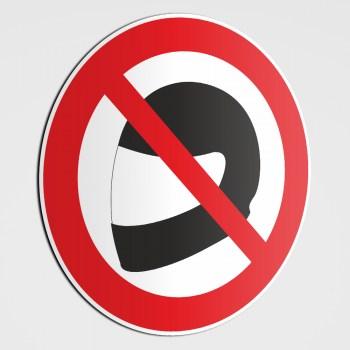 Verboten! Helm tragen verboten! bitte keinen Helm...!Aufkleber