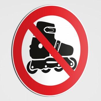 Verboten! Skaten verboten! Rollschuhe fahren verboten! Aufkleber