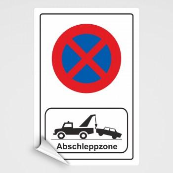 Verboten! Abschleppzonen Schild, Pakverbot Aufkleber