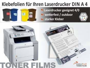 DIN A4 Folien Etiketten für Laserdrucker, wetterfest und starke Haftung