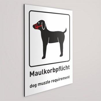 Maulkorb pflicht für Hunde Schild, Beschreibung auf Deutsch und Englisch