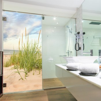 Glasdekor Dusche, ..Druck auf Glasdekorfolie in Sandstrahloptik