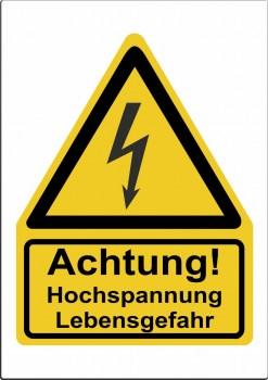 Gefahrenhinweis Schild, Warnaufkleber -Hochspannung Lebensgefahr!