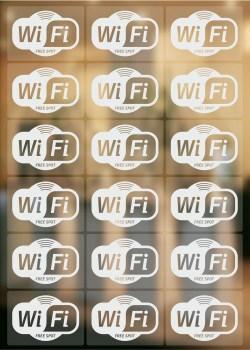 18 Stück Wifi Aufkleber, wireless lan Symbol Aufkleber, wlan Aufkleber transparent