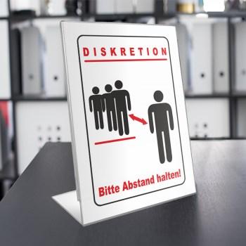 Diskretion - Bitte Abstand halten! Acryl Werbeaufsteller DIN A4 L-Ständer / Werbeaufsteller im Hochformat