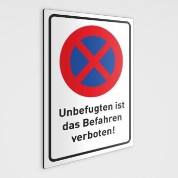 Befahren verboten Schild - Wunschtext wählbar