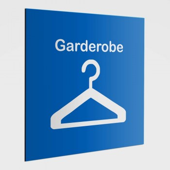 Piktogramm Hinweisschild, Garderoben Schild, Hinweisaufkleber Garderobe