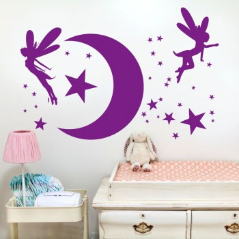 Wanddekor Mond, Elfen und Sterne
