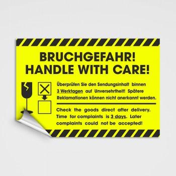 Versand Aufkleber BRUCHGEFAHR!