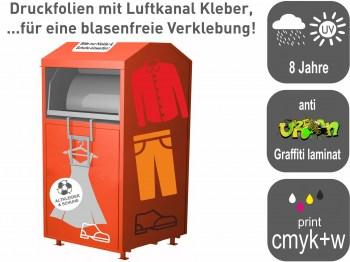 Textilcontainer Aufkleber mit Luftkanal Kleber