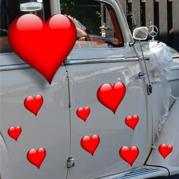 Herzen aus Magnetfolie Hochzeitsauto Dekoset