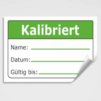 Aufkleber Kalibriert bis: