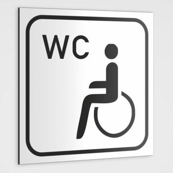 WC Hinweisschild, Behinderten-WC Schild-Aufkleber weiß