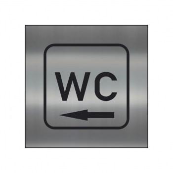 WC Hinweisschild,WC Schild mit Richtungspfeil links, silber