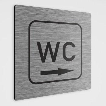 WC Hinweisschild,WC Schild mit Richtungspfeil rechts, silber