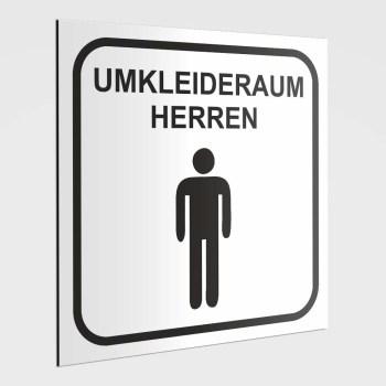 Umkleidekabinen Hinweisschild, Umkleide Herren Aufkleber, weiß