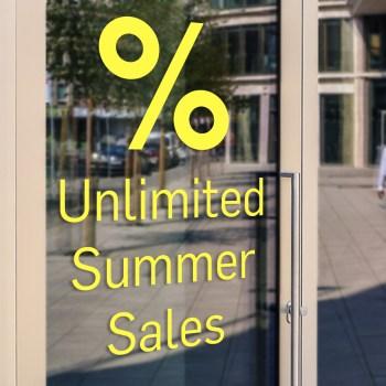 unlimited - unbegrenzter Summer Sales Aufkleber, Folienbuchstaben