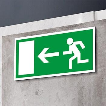 Rettungsweg nach links Schild  - Fluchtwege