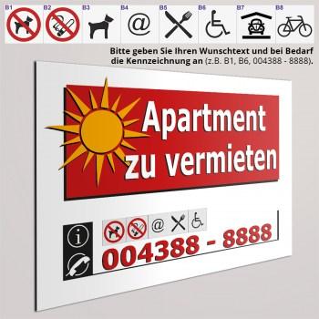 Schild-Aufkleber-Apartment zu vermieten
