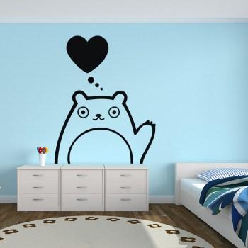 Wandaufkleber für Kinderzimmer Bär mit Herz