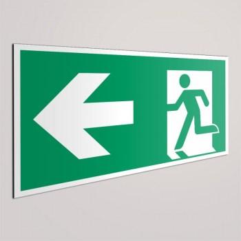 Notausgangstür links- Fluchtweg Türenbeschriftung