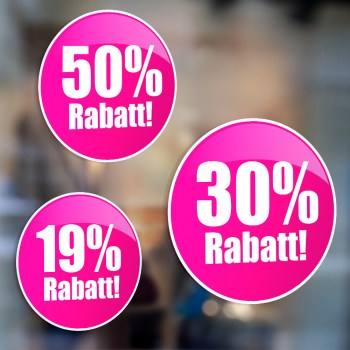 Rabatt Sale Prozente Schaufenstersticker