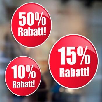 Prozente Rabatt Schaufensteraufkleber Prozente zur Wahl