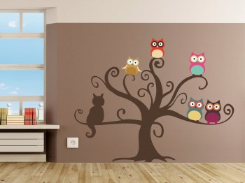 Wandaufkleber Eulen im Baum